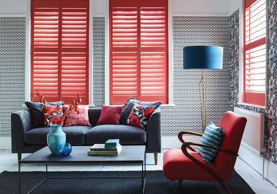 Red Coloured Wooden Shutters